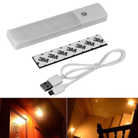 6 led usb rechargeable wireless motion sensor nightlight