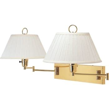 double swing arm wall l polished brass plug in hd supply