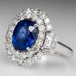 4 carat blue sapphire ring With saphire wedding ring