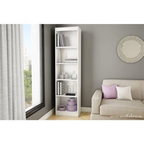 South Shore White Bookcase by South Shore Axess 5 Shelf Bookcase In White 7250758
