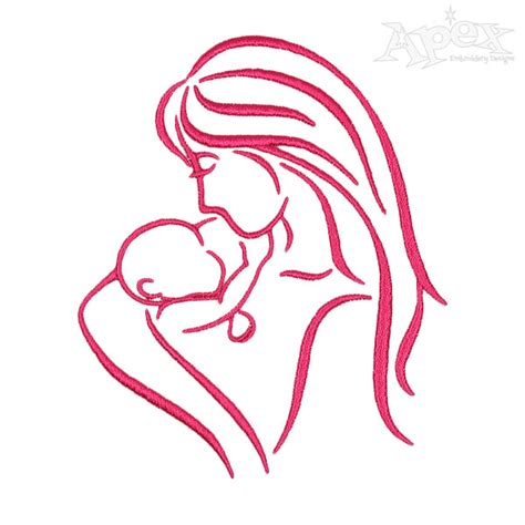mother baby silhouette embroidery design