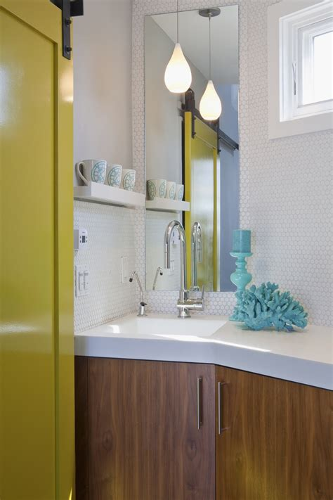 bold colors in a modern bathroom studio all day
