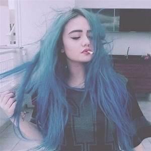 alternative style, blue, blue hair, cigarette, girl ...