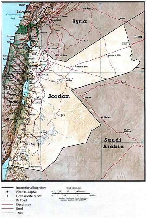 detailed map  jordan country jordan country detailed