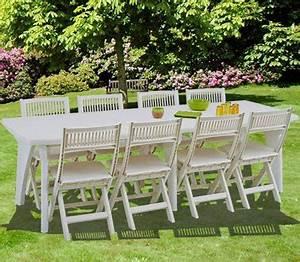 Table De Jardin Blanche : une jolie table de jardin en r sine blanche ~ Teatrodelosmanantiales.com Idées de Décoration