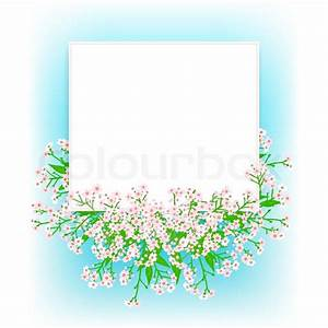 Vector card with small pink flowers on shining sky blue