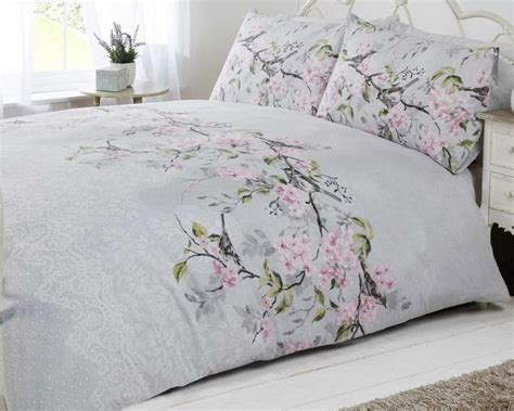 pink and grey bedding sets bird blossom floral duvet quilt cover bedding set grey