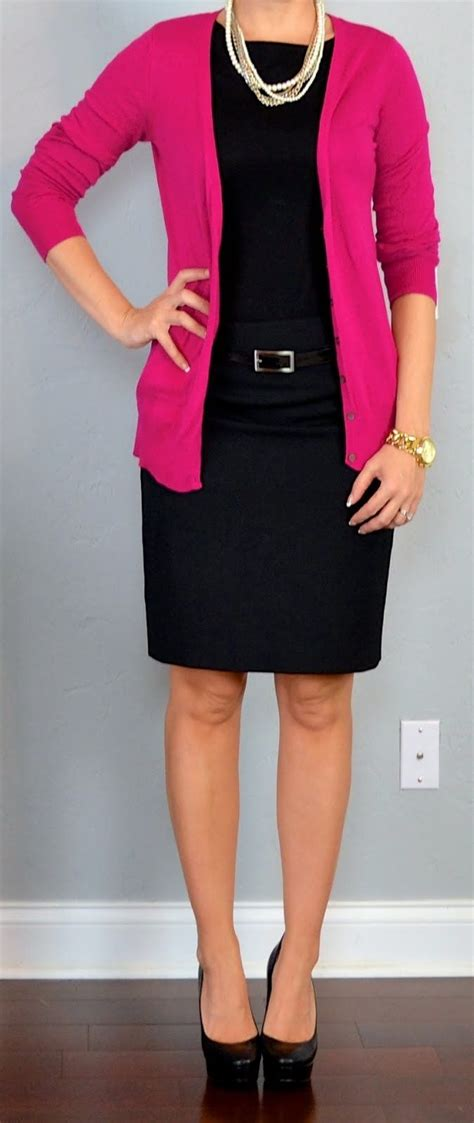 top bright pink cardigan  navy black cami