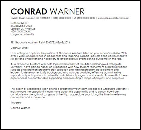 graduate assistant cover letter sample cover letter