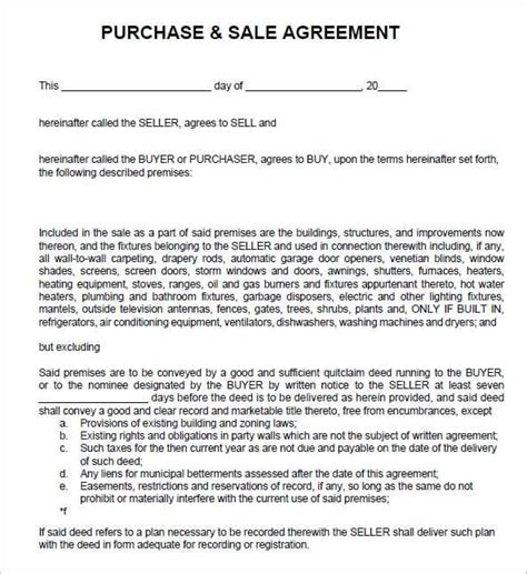 purchase agreement template 6 free sales agreement templates excel pdf formats