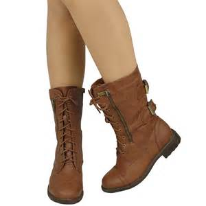 womens leather combat boots canada 39 s mid calf casual comfort rounded toe combat boots us sizes 5 5 10 ebay