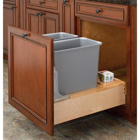double trash can cabinet rev a shelf bottom mount double waste bins with rev a