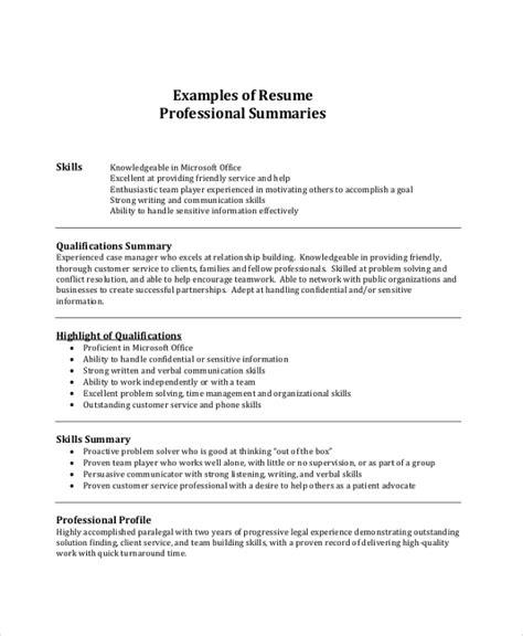 Resume Summary Template by 8 Resume Summary Sles Exles Templates