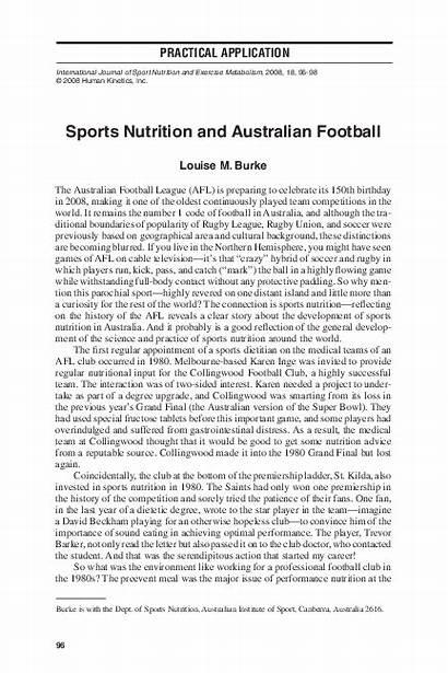 Nutrition Sports Australian Football Burke Louise Academia