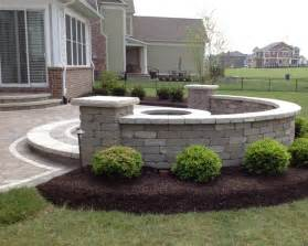 patio seat wall design raised patio with seat wall and firepit installed by brick paving of indianapolis patios