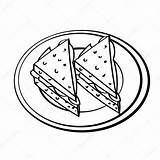 Drawing Dish Coloring Sandwiches Cartoon Bread Simple Loaf Line Sketch Vector Drawn Picnic Hand Illustration Getdrawings Isolated sketch template