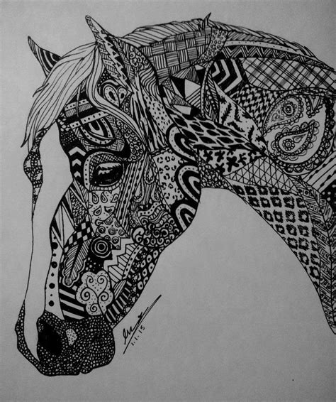 zentangle horse  evaclifton  deviantart zen tangled