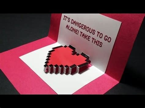 zelda pop  valentines day heart card  template