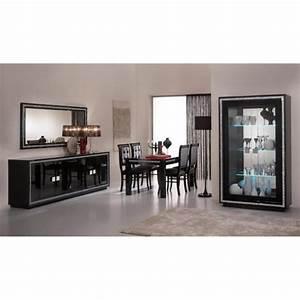 Prestige laquee noire ensemble salle a manger vitrine 2 for Meuble salle À manger avec chaise cuisine noire