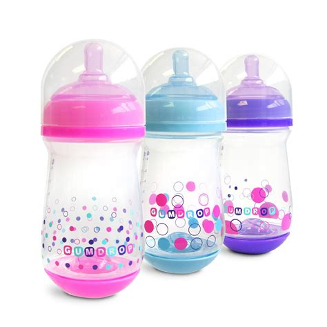 The First Years Gumdrop Wide Neck Bottle 3 Pack 8 Oz Girl