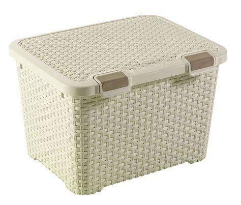 curver vintage white  plastic storage trunk
