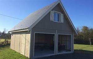 Garage Bois En Kit : garage bois avec tage am nag fabriqu en ossature bois ~ Premium-room.com Idées de Décoration
