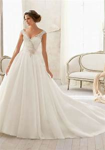 natural waist chapel train v bac a line organzalace With natural waist wedding dress
