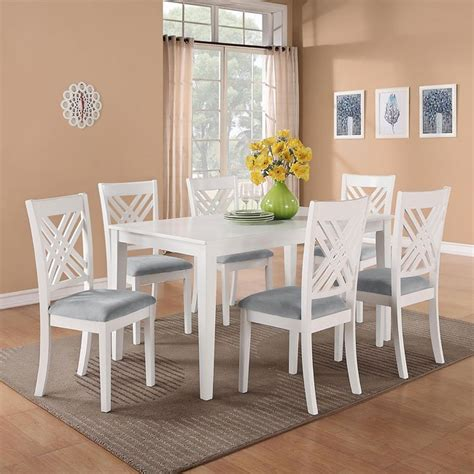 brooklyn white  piece dining room set standard furniture