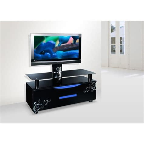 meuble tv design noir led avec support tv pivotant achat vente meuble tv meuble tv design