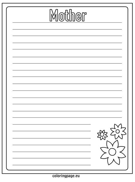 mothers day writing paper coloring coloring page