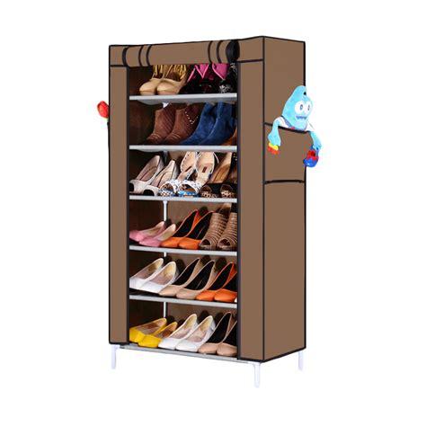 Jual Rak Sepatu Cover jual nine box rak sepatu coklat 7 cover 6 tingkat