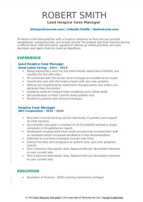 hospice case manager resume samples qwikresume