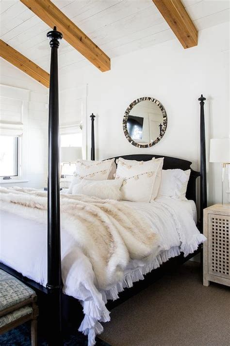 black  poster bed  black capiz mirror transitional