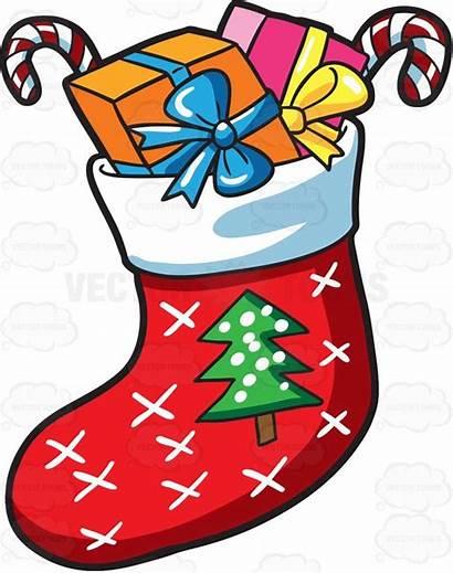 Christmas Sock Clipart Presents Socks Cartoon Drawing