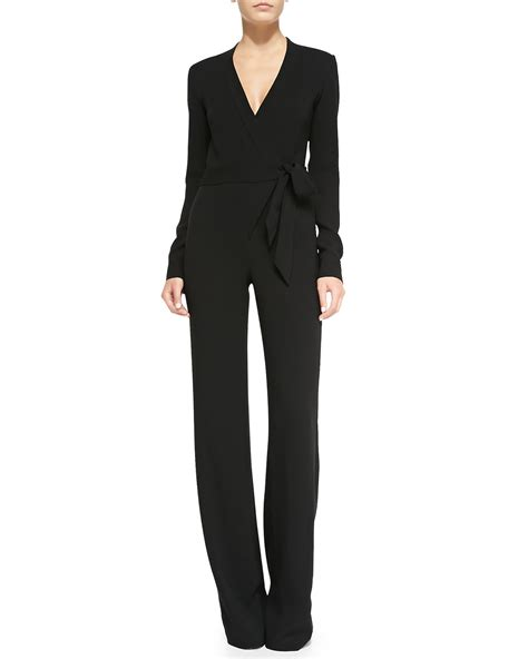 wrap jumpsuit diane furstenberg sleeve jersey wrap jumpsuit in