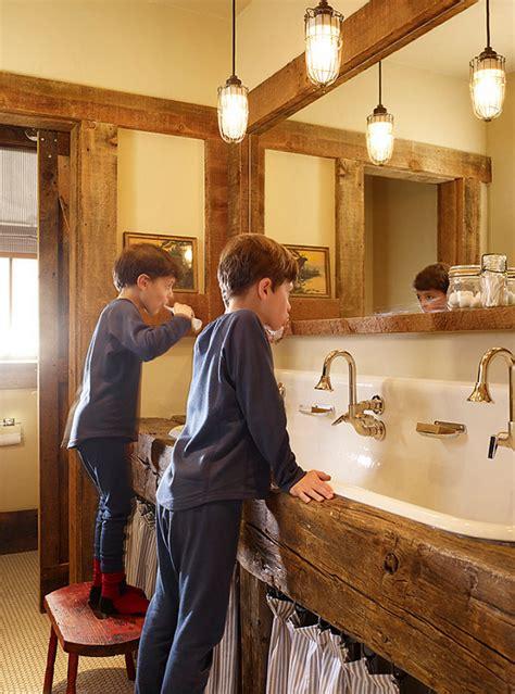Modern Farmhouse Bathroom Faucet Ski Cabin With Rustic Interiors Home Bunch Interior