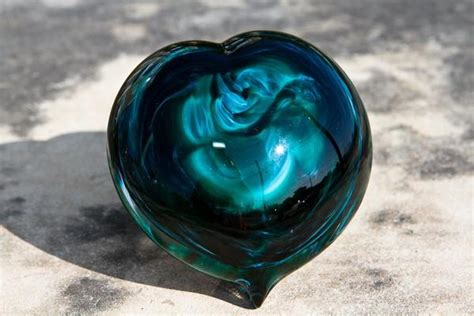 turquoise glass heart paperweight  cremation ash