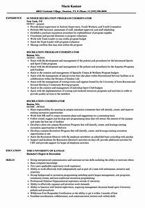 Recreation Coordinator Resume Shalomhouseus