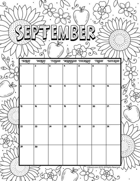 september  coloring calendar woo jr kids