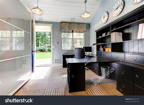 blue modern home office interior design stock photo
