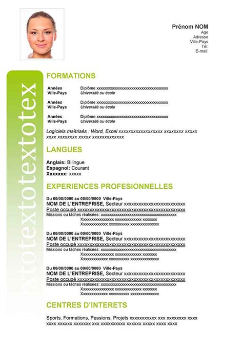 Exemple De Cv Word by Exemple De Cv Au Format Word 224 T 233 L 233 Charger Cv Gratuit