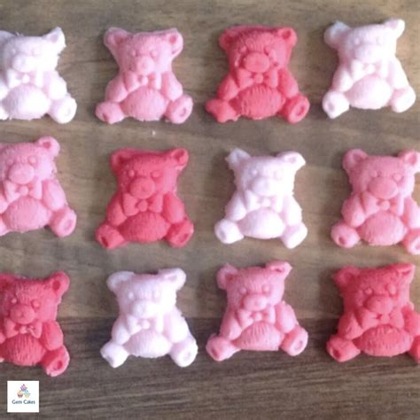 edible baby shower cake decorations 12 pink edible teddy bears cupcake baby shower cake