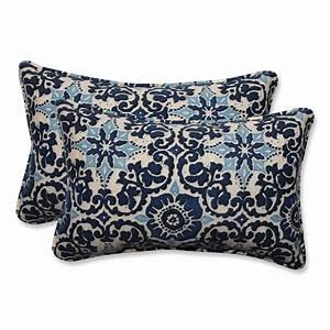 Pillow, Perfect, Outdoor, Indoor, Woodblock, Prism, Blue, Rectangular, Throw, Pillow, Set, Of, 2