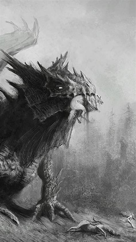 black  white dragons forests fantasy art drawings