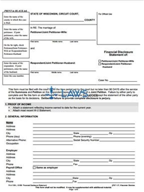 c j financial forms form fa 4139 financial disclosure statement wisconsin