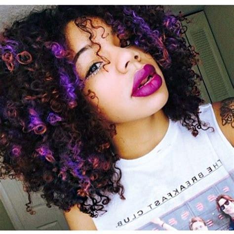 Afro Kinky Curly Hair Hairstyle Purple Orange Highlights