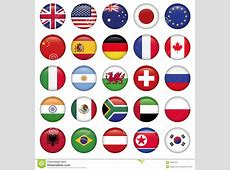 Set Of Round Flags World Top States Stock Vector