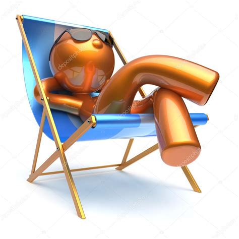 chaise longue de plage character relaxing deck chair