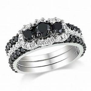 2 CT TW Enhanced Black And White Diamond Bridal Set In