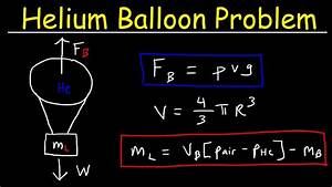 How To Calculate The Buoyant Force  U0026 Load Mass Of A Helium Balloon - Physics
